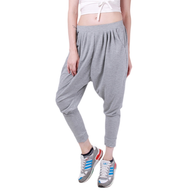 Unisex-Women-Men-Cross-Pants-Elastic-Waist-Trouser-Hip-Hop-Baggy-Dance-Sporty-New-Look-Solid